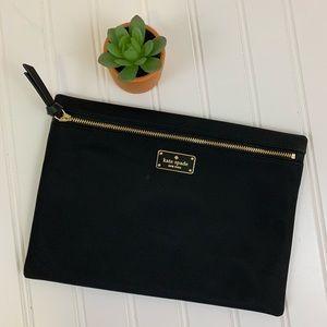 New Kate Spade black nylon zipper pouch